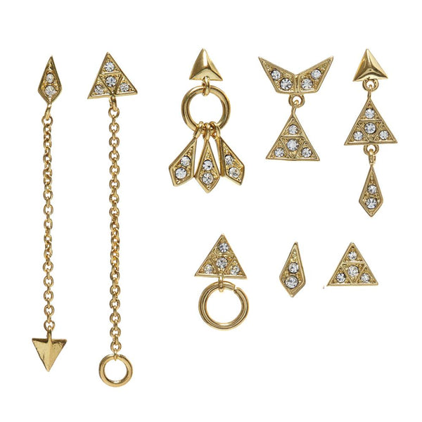 Pave Kite Mixed Earring Set of 8 - Gold