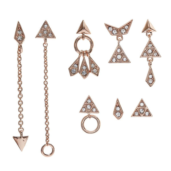 Pave Kite Mixed Earring Set of 8 - Rose Gold