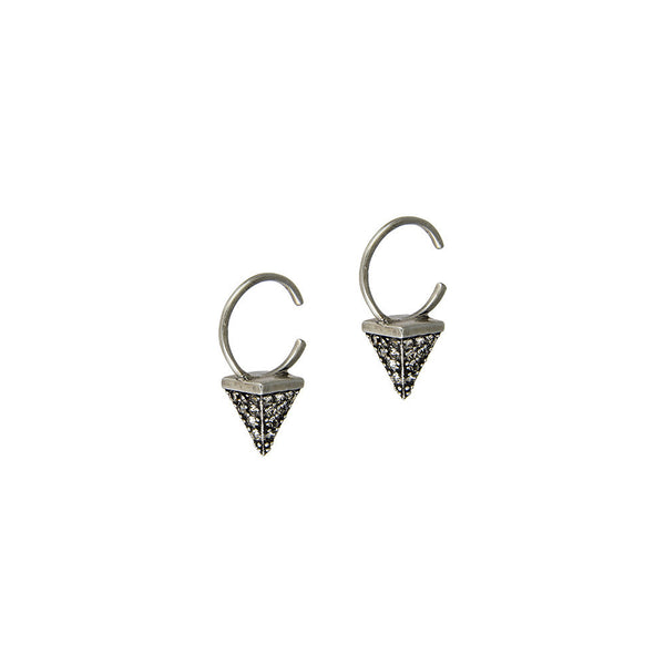 (PRE-ORDER) PAVE POINTE OPEN HOOPS - SILVER