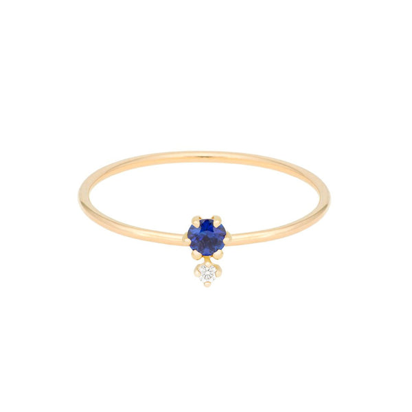 """Petite Cherie Duo"" Deep Blue Sapphire & White Diamond Ring"