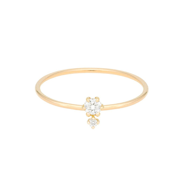 """Petite Cherie Duo"" Double White Diamonds Ring"
