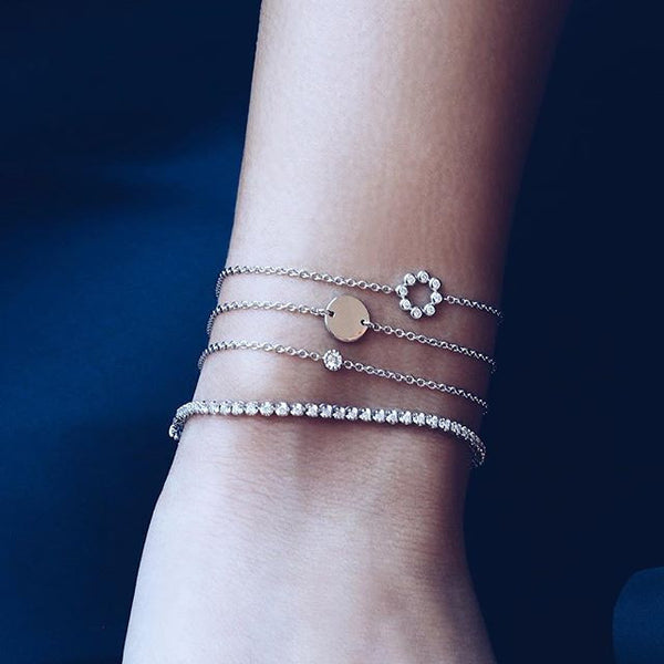 (PRE-ORDER) Petite Diamond Circle Bracelet in Rose Gold