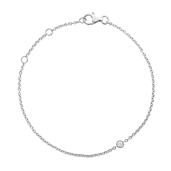 (PRE-ORDER) Petite Christmas Diamond Solitaire Bracelet in White Gold