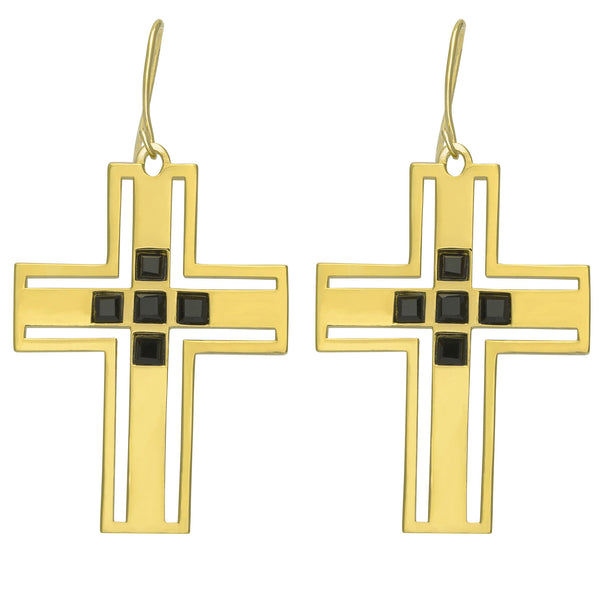 (PRE-ORDER) RICHIE CROSS EARRING - YELLOW GOLD