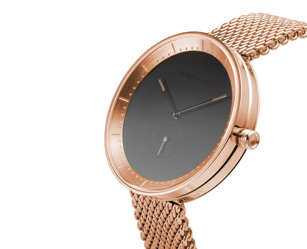 Domeni Co Signature Rose Gold Mesh Watch - Black Dial