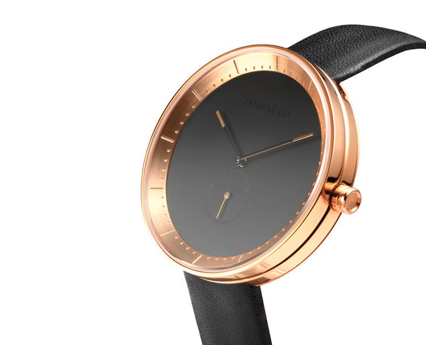 Domeni Co Signature Leather Watch - Black Dial with Rose Gold Rim