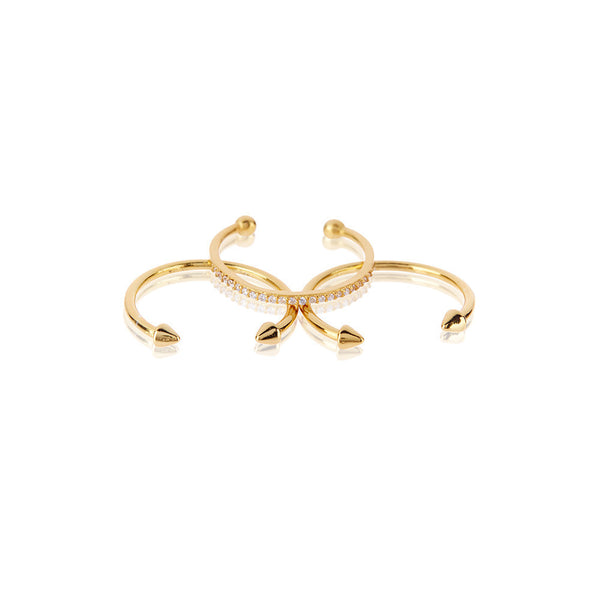 The Barbell Ring Set - Gold