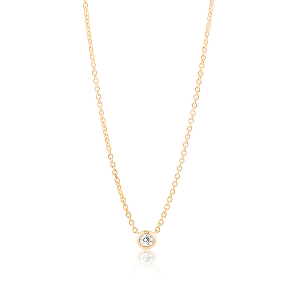Solitaire Diamond Necklace - Small Yellow Gold
