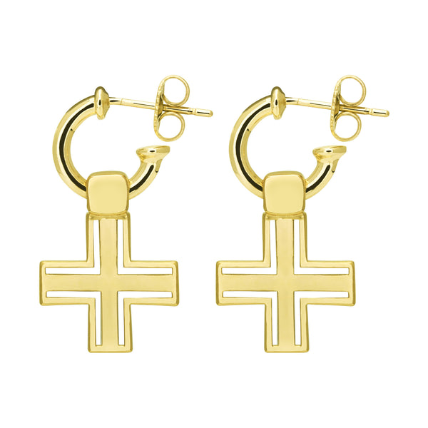 (PRE-ORDER) SIOUX CROSS EARRING - YELLOW GOLD