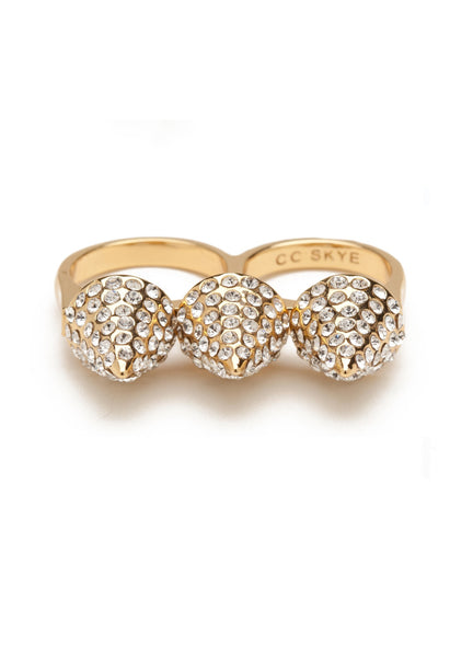 TRIPLE SPIKE PAVE GLITTER RING