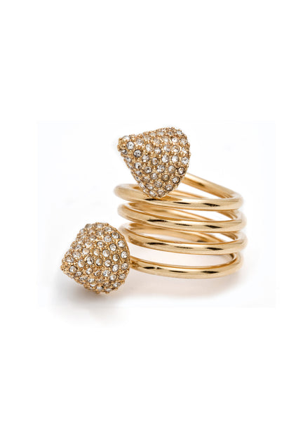 DOUBLE PAVE GLITTER SNAKE SPRING RING