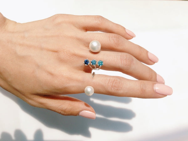(PRE-ORDER) STELLA BLUE OMBRÉ STONE OPEN RING