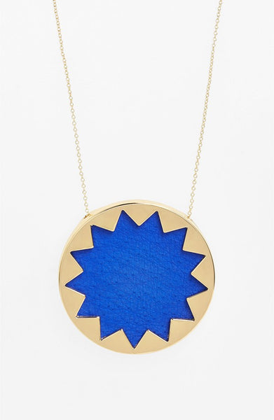 COBALT BLUE LARGE SUNBURST PENDANT NECKLACE