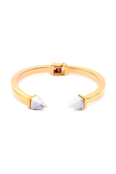 Tilly Bangle - Gold with White Marble