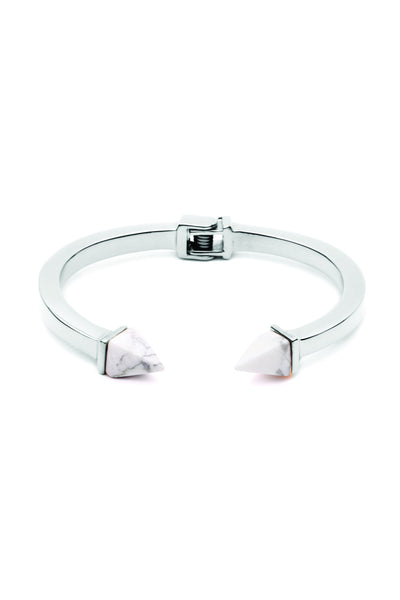 Tilly Bangle - Silver with White Marble