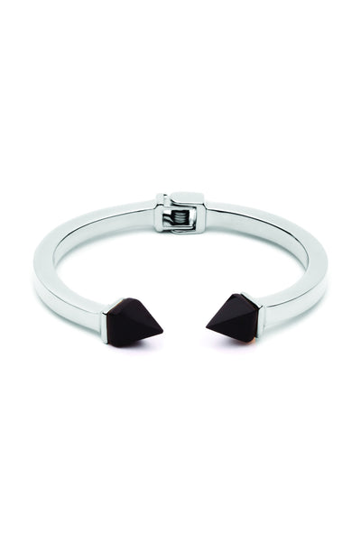 Tilly Bangle - Silver with Black Onyx