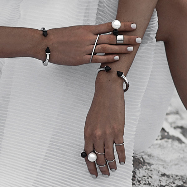 (PRE-ORDER) Tilly Bangle - Silver with White Marble