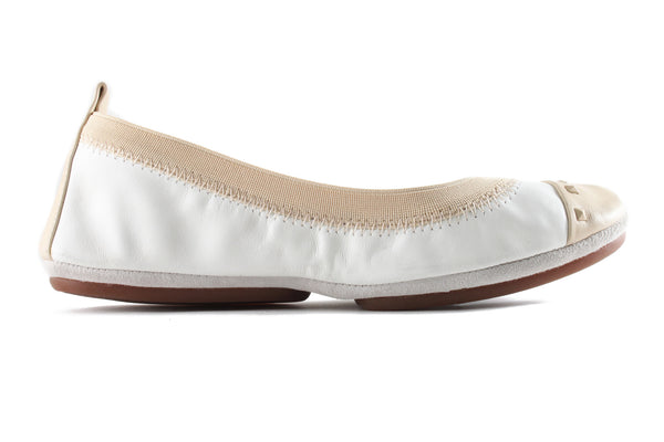 Samantha Studded - White and Biscotti