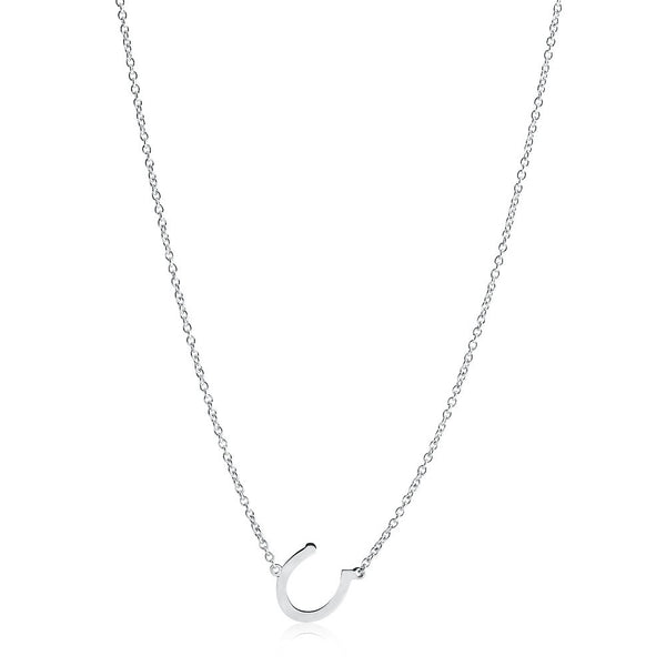 LUCKY CHARM HORSESHOE NECKLACE - WHITE GOLD