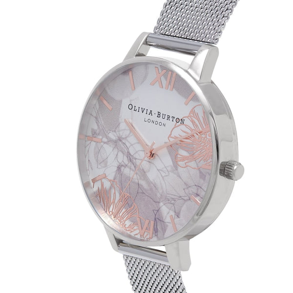 Big Dial Abstract Florals Rose Gold Details & Silver Mesh
