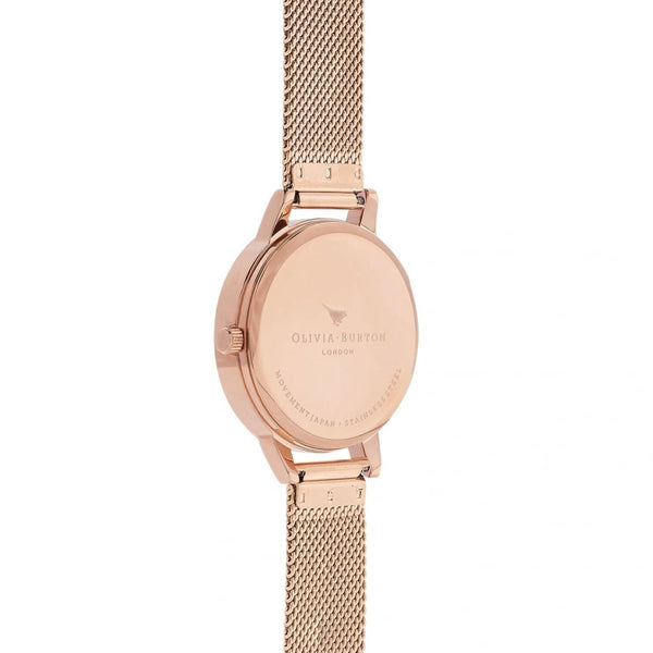 Midi Abstract Florals Rose Gold Mesh Watch