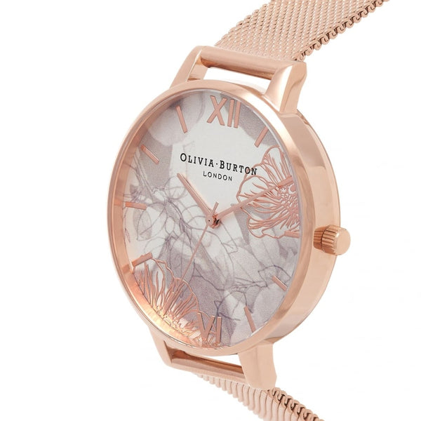 Big Dial Abstract Florals Rose Gold Mesh Watch