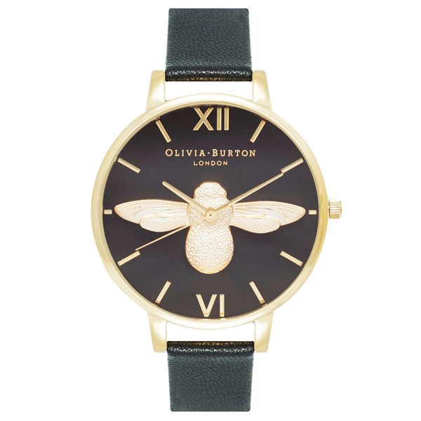BIG DIAL MOULED BEE BLACK DIAL AND GOLD
