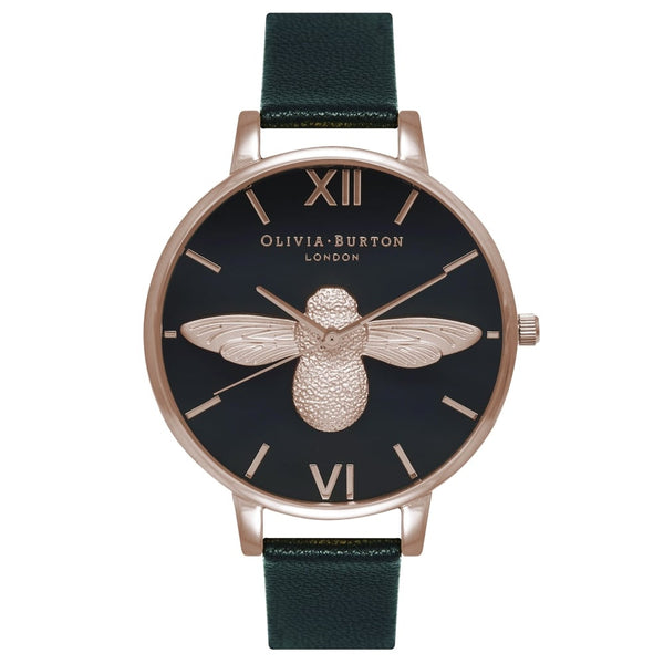 BIG DIAL MOULED BEE BLACK DIAL AND ROSE GOLD