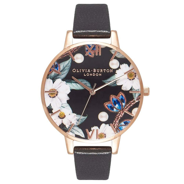 Bejewelled Florals Black & Rose Gold
