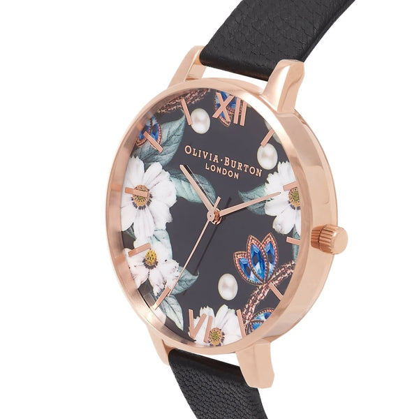 Bejewelled Florals Black & Rose Gold (DISPLAY PIECE)