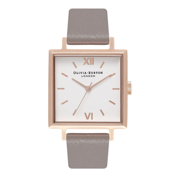 Big Square Dial London Grey & Rose Gold Watch