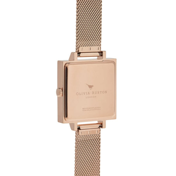 Big Square Dial Rose Gold Mesh