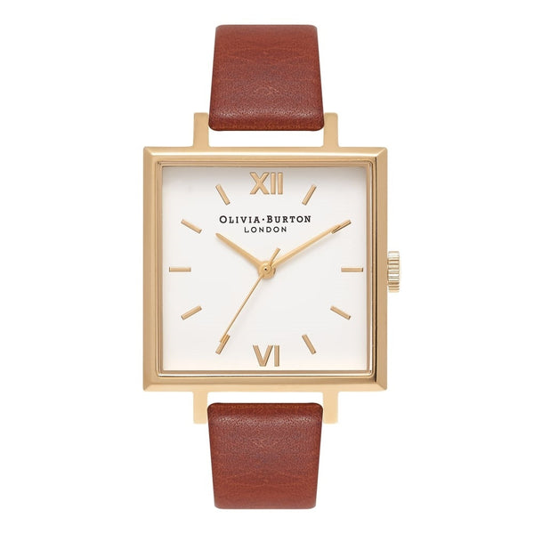 Big Square Dial Tan & Gold