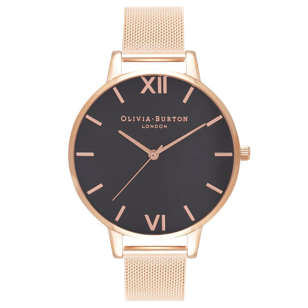 BLACK DIAL & ROSE GOLD MESH STRAP