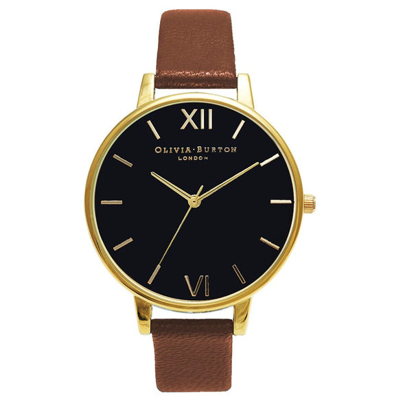 BLACK DIAL AND GOLD WITH BROWN STRAP