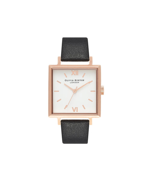 Big Dial Square Dial Black & Rose Gold Watch