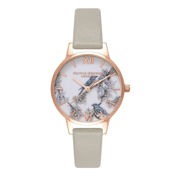 Blossom Birds Grey & Rose Gold Midi dial