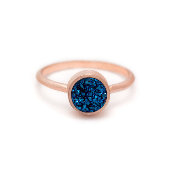 Kristine Lily Jewelry - Royal Blue Druzy Pop Ring in Rose Gold