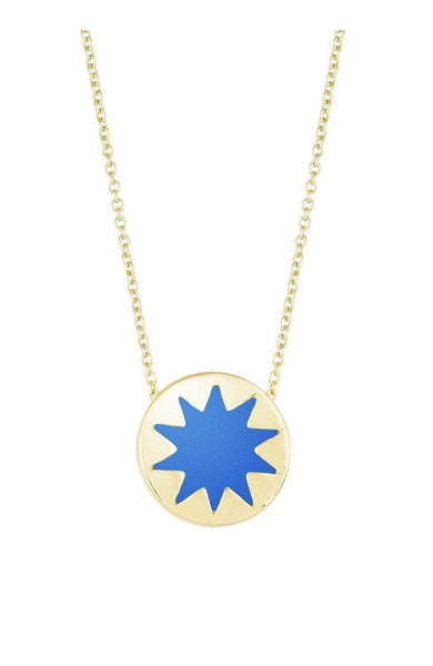BLUE RESIN MINI SUNBURST PENDANT NECKLACE