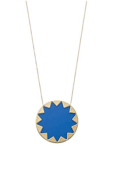BLUE RESIN LARGE SUNBURST PENDANT NECKLACE