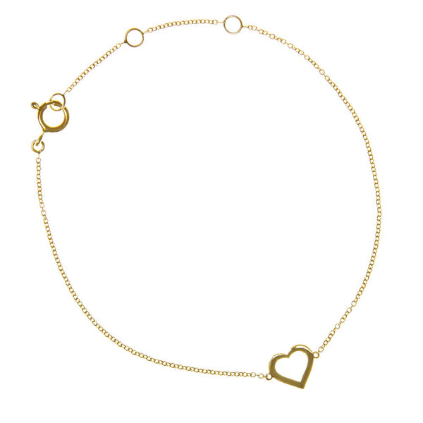 LOVE HEART CHARM BRACELET YELLOW GOLD