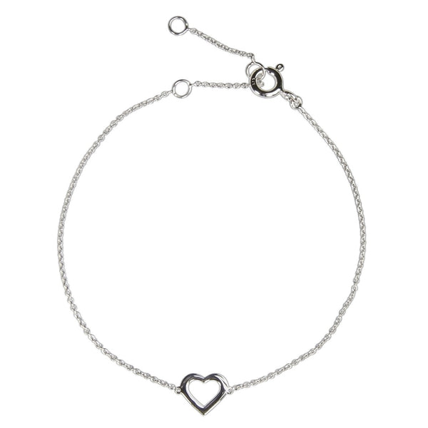 LOVE HEART CHARM BRACELET WHITE GOLD