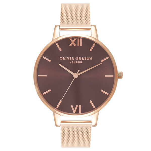 BROWN DIAL & ROSE GOLD MESH STRAP