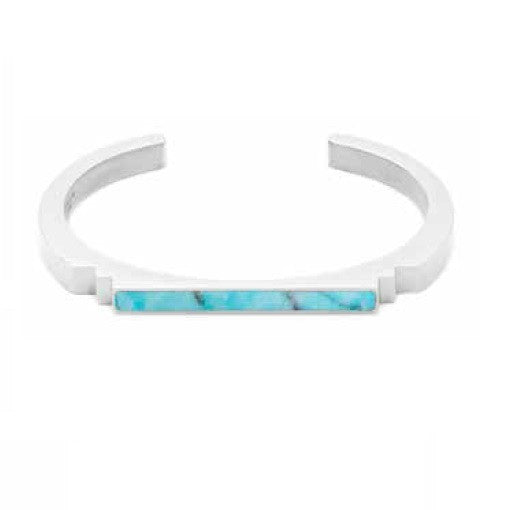 (PRE-ORDER) Deco Bangle - Blue Turquoise and Silver