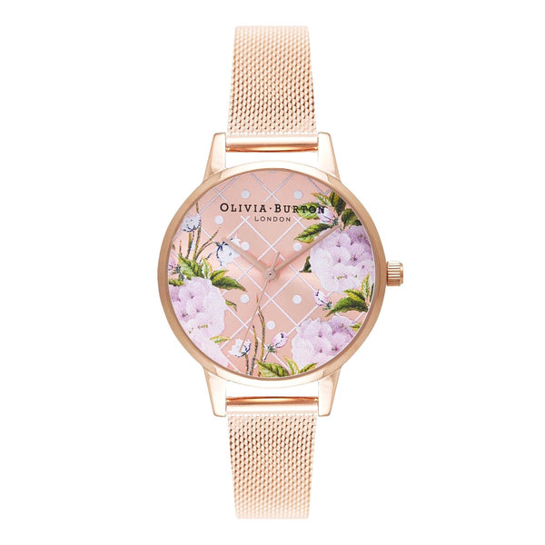 DOT DESIGN - FLORAL IN ROSE GOLD DIAL & MESH STRAP