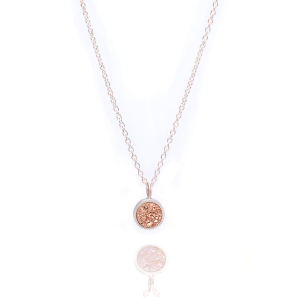 Druzy Pop Necklace - Rose gold druzy in sterling silver