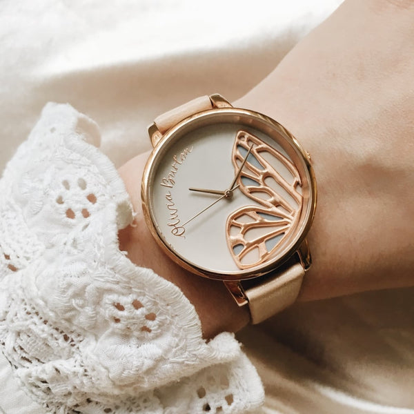 Embroidered Butterfly Nude Peach & Rose Gold
