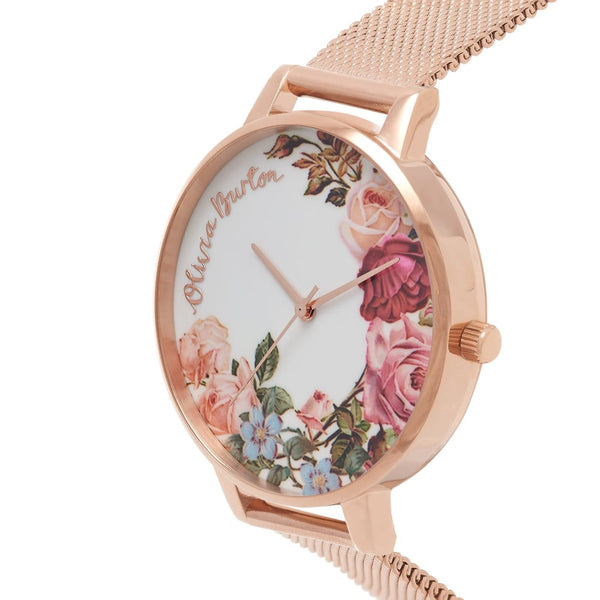 English Garden Rose Gold Mesh Watch