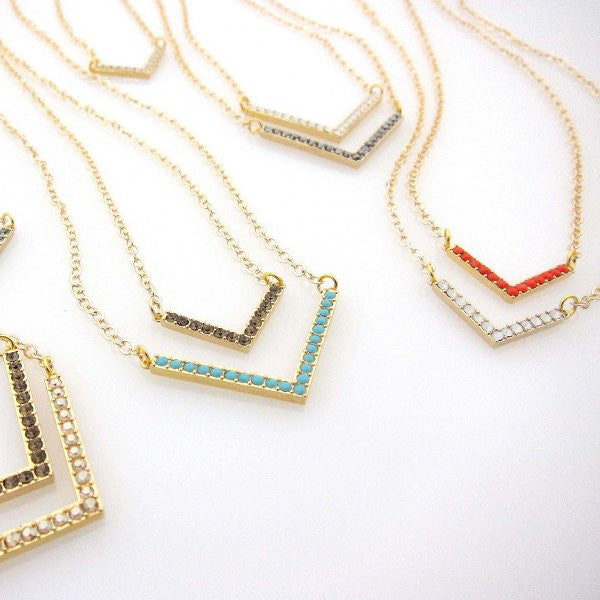 "Swarovski Double ""V"" Neckace - Gold and White Opal"