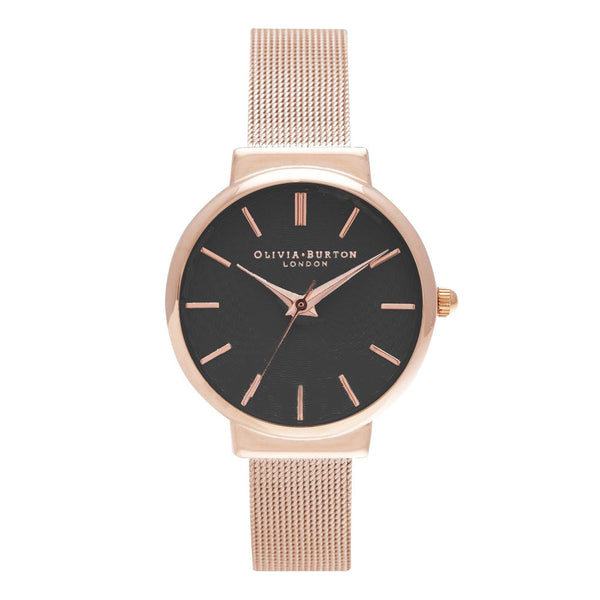 THE HACKNEY BLACK DIAL AND ROSE GOLD MESH